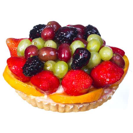 Fruit Cake isolated on white background  Sweet dessert Stock Photo