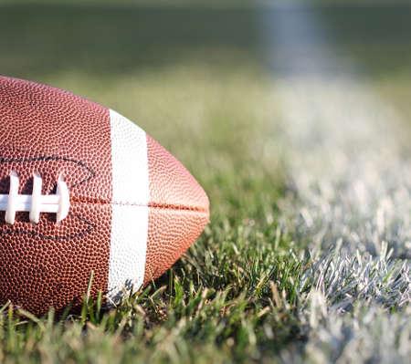 Rugby ball: Fútbol americano en el campo con línea de la yarda y la hierba verde