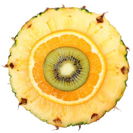 Sliced Fruits isolated  Kiwi, Pineapple, Orange  Macro  Top View