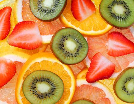 Sliced Fruits Strawberry, Kiwi, Pineapple, Grapefruit, Orange