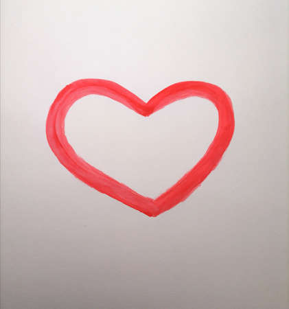 Red heart on white background Imagens