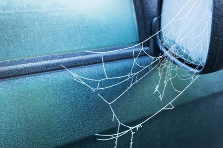 web side: frozen spider web covered with frost early in the morning on side view mirror of a car, winter time, cold blue colors, horizontal