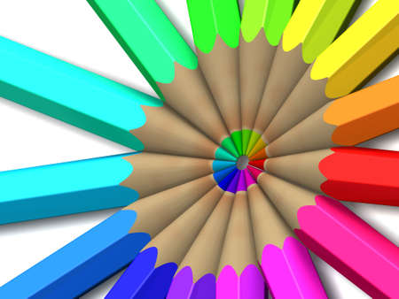 Spectrum colored pencils. 3D. Isolated on white background. Stock Photo