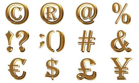 3D symbols. Currency, smiles, computer symbols. Isolated on white background.