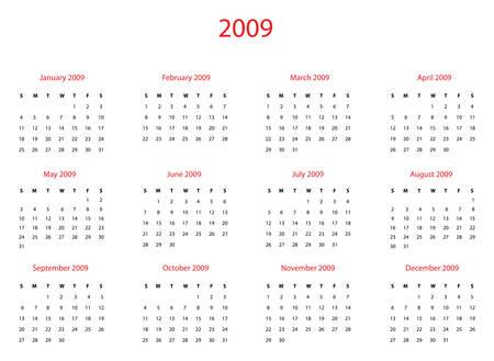 Vector illustration calendar of 2009 year. Illustration