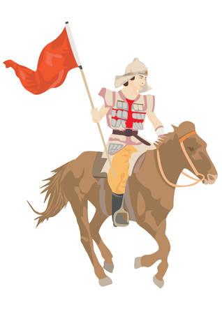 reins: The horseman on a horse with a flag. Illustration
