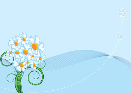 The abstract background consisting from objects: lines, flower figures