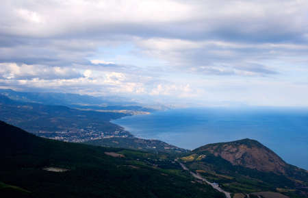 View of Yalta road and Black sea (Crimea, Ukraine) from rock Paragelmen.  Stock Photo