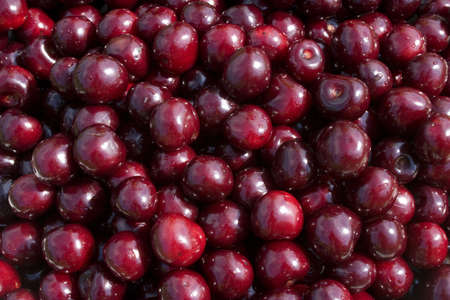 Sweet cherry - very tasty and useful berry. Food background of sweet cherry Stock Photo