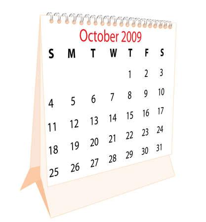 Calendar of a desktop 2009 for October