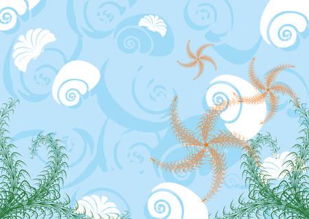 inhabitants: Donna sfondo del mare con i suoi abitanti. Una illustrazione vettoriale