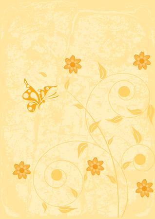 Decorative floral on grunge background, vector illustration Stock Vector - 3564866