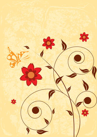 Decorative floral on grunge background, vector illustration