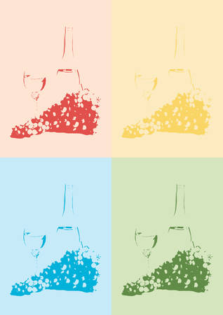 winetasting: Branch of grapes and white wine in a wineglass. Silhouette Illustration.