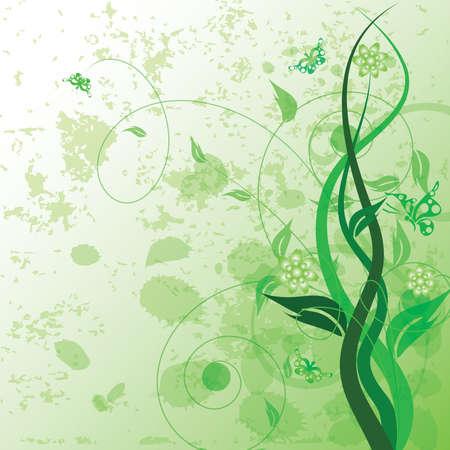 Decorative floral on grunge background, vector illustration