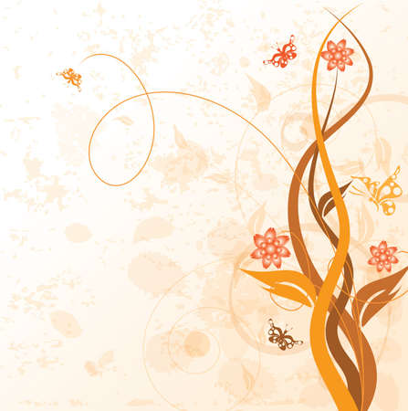 Decorative floral on grunge background, vector illustration illustration