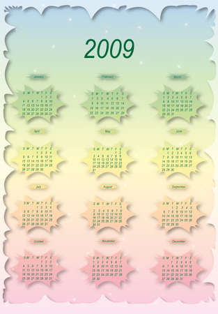 Сalendar of 2009 year.