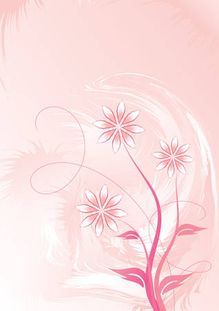 Decorative floral on pink background, vector illustration Stock Vector - 3627556