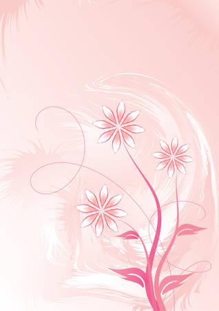Decorative floral on pink background, vector illustration