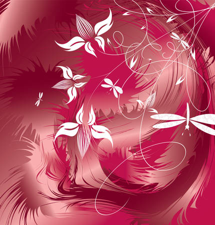 Decorative flowers on grunge background, vector illustration. Please see some similar pictures from my portfolio. Vector