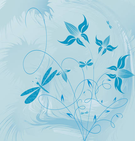 Decorative flowers on grunge background, vector illustration. Please see some similar pictures from my portfolio.