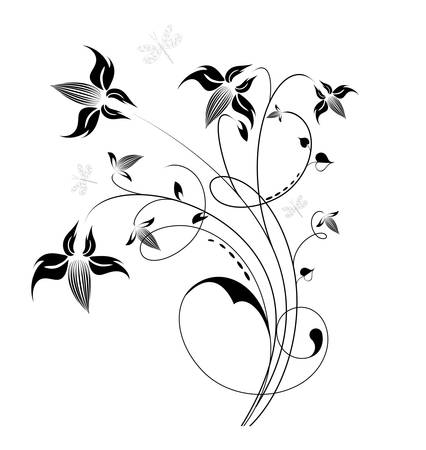 Decorative flowers, isolated on white background, vector illustration. Please see some similar pictures from my portfolio.