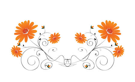 Decorative flowers on white background, vector illustration. Please see some similar pictures from my portfolio. Stock Vector - 3656353