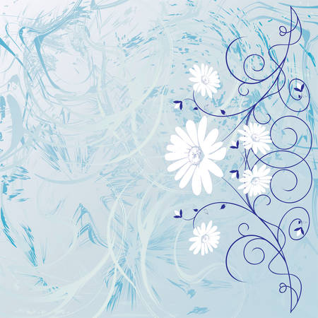 Decorative flowers on abstract background, vector illustration. Please see some similar pictures from my portfolio. Vector