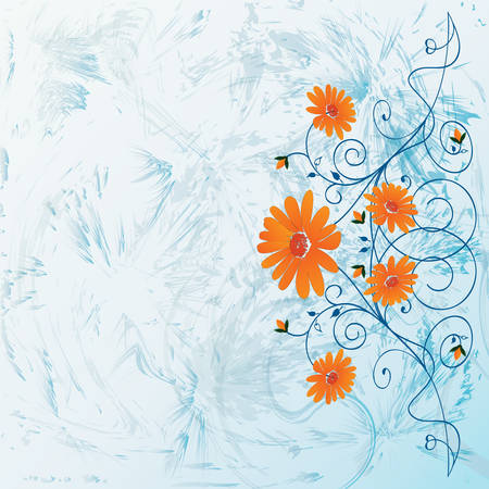 Decorative flowers on abstract background, vector illustration. Please see some similar pictures from my portfolio.