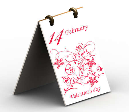 Valentines day card. 3D rendering. Isolated on White Background.