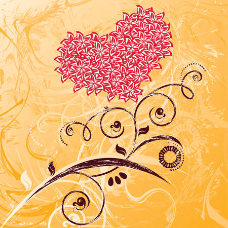 Valentines day card. Decorative flowers in the form of heart. Please see some similar pictures from my portfolio. Illustration