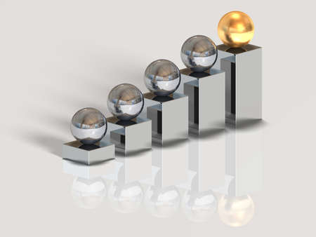 The concept of the winner - an important point of any business. A sphere of gold colour at the higher step. photo