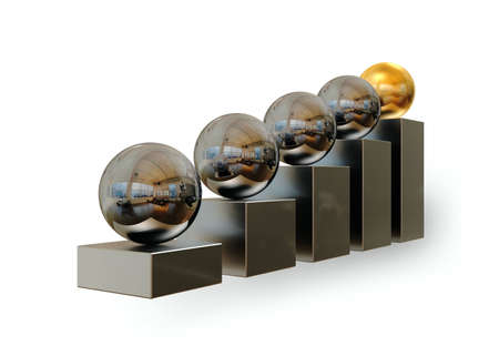 The concept of the winner - an important point of any business. A sphere of gold colour at the higher step.