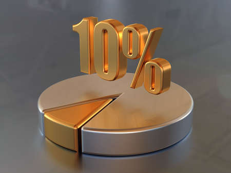 Symbol 10% and the circular diagram with a 10% part of a circle in gold color.