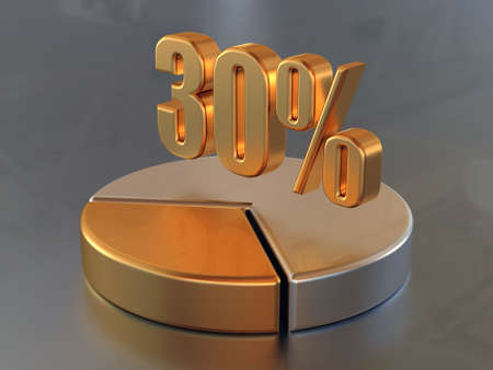 Symbol &quot,30%&quot, and the circular diagram with a 30 % part of a circle in gold color.