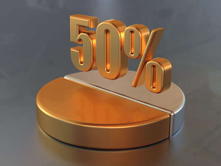 Symbol &quot,50 %&quot, and the circular diagram with a 50 % part of a circle in gold color.  Stock Photo