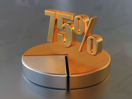 Symbol &quot,75 %&quot, and the circular diagram with a 75 % part of a circle in gold color.  Stock Photo