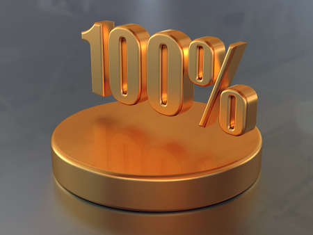 Symbol &quot,100 %&quot, and the circular diagram with a 100 % part of a circle in gold color.