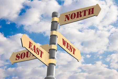 Navigation arrows with index on north, west, south, east sides.  Stock Photo