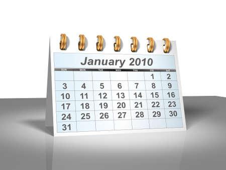 calendario escritorio: Desktop Calendar. Enero, 2010. Una serie completa de 2010, en mi cartera. Foto de archivo