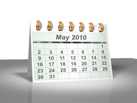Desktop Calendar. May, 2010. A full series for 2010 in my portfolio. Stock Photo