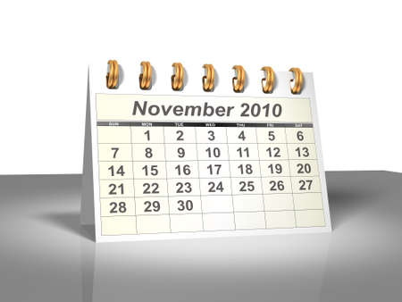 Desktop Calendar. November, 2010. A full series for 2010 in my portfolio. Stock Photo