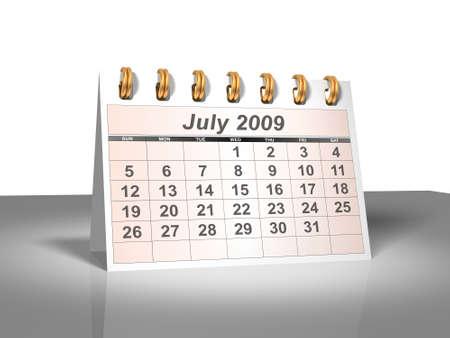 Desktop Calendar. July, 2009.  Stock Photo