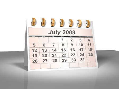 Desktop Calendar. July, 2009.  Stock Photo