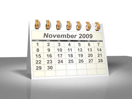 calendario escritorio: Desktop Calendar. Noviembre, 2009.