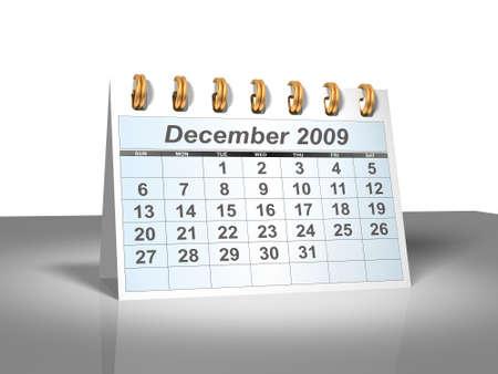 december kalender: De kalender van het bureau blad. December 2009.