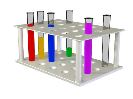 Test tubes with chemical reactants of various colour scale. Stock Photo