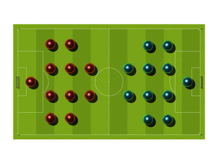 Soccer Field with the tactical scheme of arrangement of players