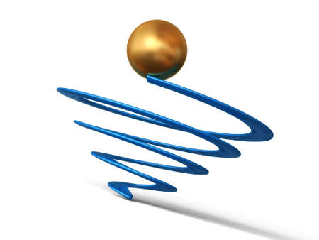 Business conception. The concept of the winner - an important point of any business. A sphere of gold colour on spiral top.