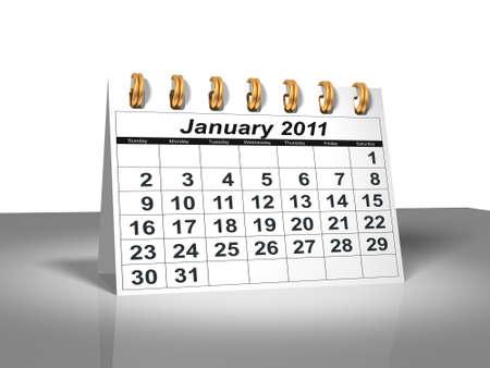 calendario escritorio: Calendario de escritorio. Enero de 2011 Foto de archivo